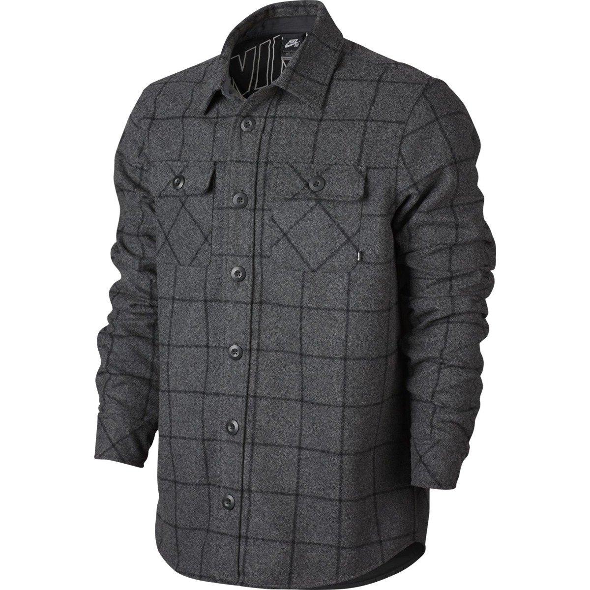 7eeba10db7b85 Koszula Nike SB Holgate Yarn Dye Wool Long-Sleeve Shirt Buffalo Charcoal  Heathr