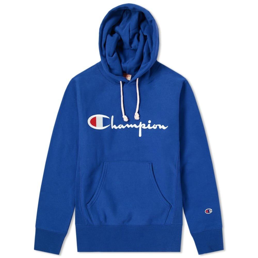 champion hooded sweatshirt reverse weave royal blue niebieski