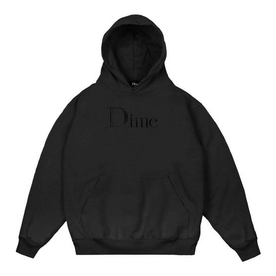 DIME CLASSIC LOGO EMBROIDERED HOODIE - black