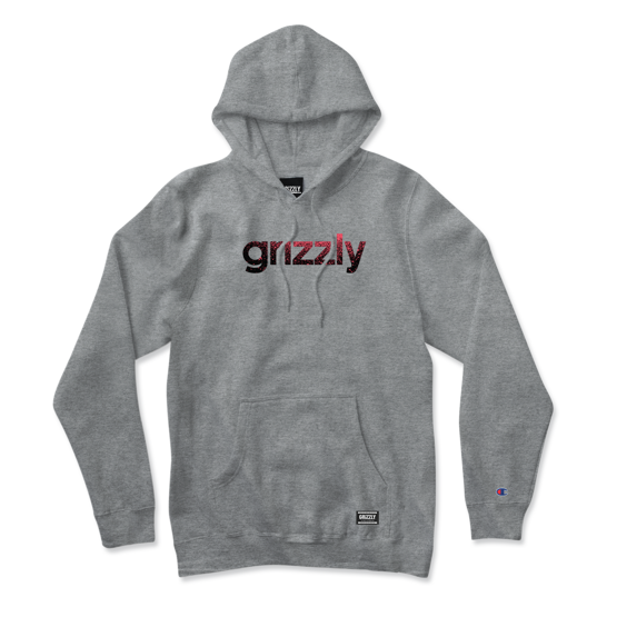 Grizzly Champion Lowercase Fadeaway Hoodie Heather Grey