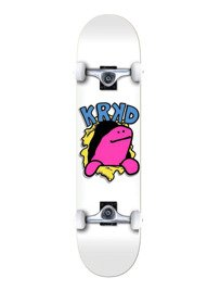 Krooked Komplete Schmoo Face First White Complete Skateboard Deck - 8""