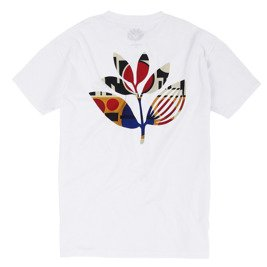 magenta shapes plant tee white