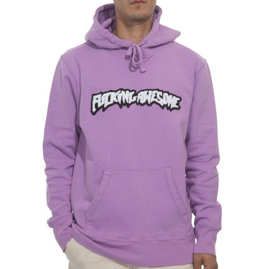 bluza fucking awesome garment dyed chenille logo hoodie violet