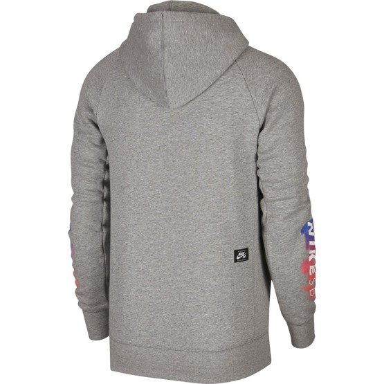 bluza nike sb icon hoodie gfx  dk grey heather/white